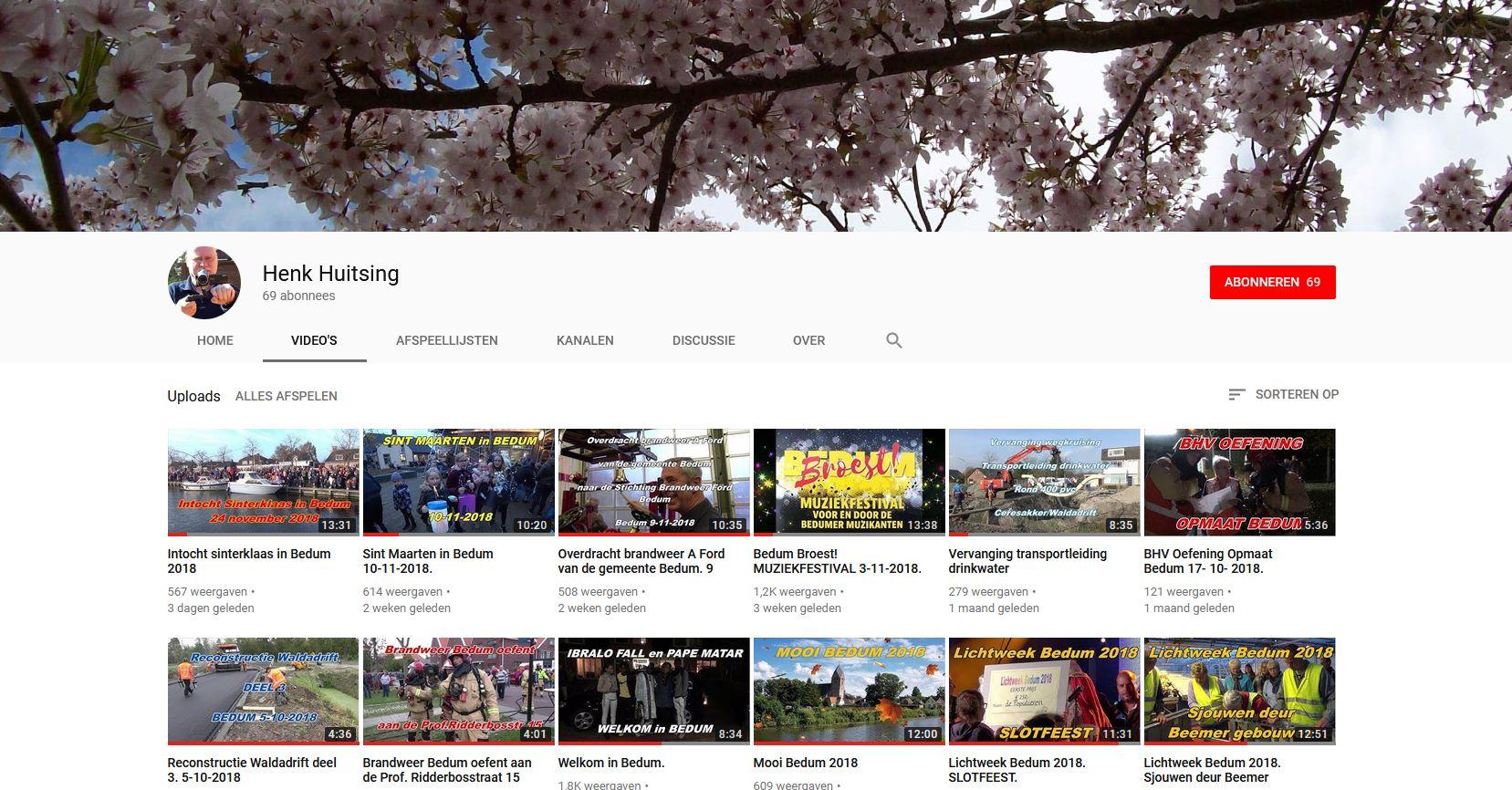 Bedumer Henk Huitsing Youtube kanaal